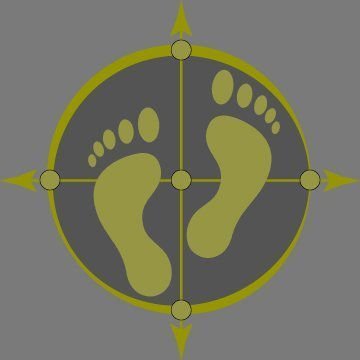 Vanuatu Traveller logo incorporating walking feet within a compass providing an image of a venturesome traveller